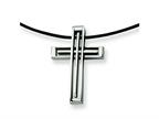 Chisel Stainless Steel Leather Cord Cross Necklace Style number: SRN106