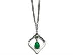 Chisel Stain.steel Polished/antiqued Synthetic Dyed Jade/cz W/2in Ext. Necklace Style number: SRN153418