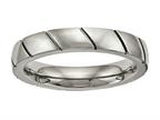 Chisel Titanium Polished Grooved Ring Style number: TB482