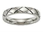 Chisel Titanium Polished Criss Cross Grooved Ring Style number: TB484