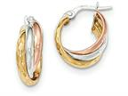 14k Tri-color Polished/Bright-cut Post Hoop Earring Style number: TF712