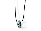 Chisel Tungsten Polished Leather Cord Necklace - 18 inches Style number: TUN110