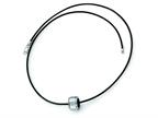 Chisel Tungsten Polished Leather Cord Necklace - 18 inches Style number: TUN112