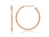 Nikki Lissoni Sterling Silver Polished Rose-tone Post Hoop Earrings style: EA1002RG