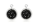 Nikki Lissoni Sterling Silver Polished Black Rock Crystal Earring Coins style: EAC2031S
