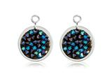 Nikki Lissoni Sterling Silver Polished Blue Rock Crystal Earring Coins style: EAC2032S