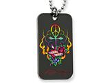 Ed Hardy Love Peace Cross Dog Tag Painted Necklace