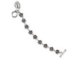 Stainless Steel Ed Hardy Roses w/Red CZ Toggle Bracelet style: EHF114