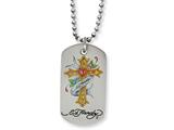 Stainless Steel Ed Hardy Heart Cross Dog Tag Painted Necklace