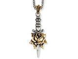 Stainless Steel Ed Hardy Bronze Rose Dagger Necklace