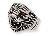Stainless Steel Ed Hardy Roaring Tiger w/Red CZ Eyes Ring