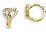 """14k Madi K Cz Children""""s Hinged Hoop Heart Earrings style: GK857"""
