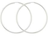 14k White Gold 2mm Polished Endless Hoop Earrings style: H1000