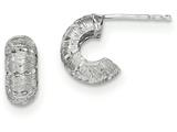 14k White Gold Polished And Bright Cut Post Hoop Earrings style: H1065
