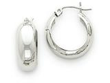 14k White Gold Fancy Hoop Earrings style: H331