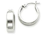 14k White Gold Fancy Hoop Earrings style: H341