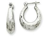 14k White Gold Hammered Hoop Earrings style: H750