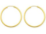 14k Polished Round Endless 2mm Hoop Earrings style: H982