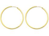 14k Polished Round Endless 2mm Hoop Earrings style: H984