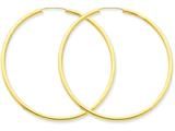 14k Polished Round Endless 2mm Hoop Earrings style: H986