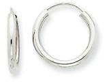14k White Gold Polished Endless 2mm Hoop Earrings style: H989
