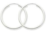 14k White Gold Polished Endless 2mm Hoop Earrings style: H993
