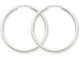 14k White Gold Polished Endless 2mm Hoop Earrings style: H994