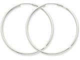 14k White Gold Polished Endless 2mm Hoop Earrings style: H996