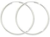 14k White Gold Polished Endless 2mm Hoop Earrings style: H997