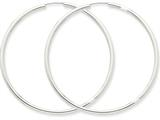 14k White Gold Polished Endless 2mm Hoop Earrings style: H998