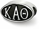 LogoArt Sterling Silver 12.25mm Kappa Alpha Theta Oval Letters Bead Charm style: KAT002BDSS