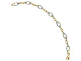 Finejewelers 10k Two-tone Polished And Textured Link Bracelet style: LES10LF51275