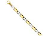9 Inch 14k Two-tone 10.6mm Polished Fancy Link Chain Ankle Bracelet style: LK5349