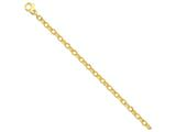 7.5 Inch 14k 5mm Polished and Ridged Fancy Link Chain Bracelet style: LK58375