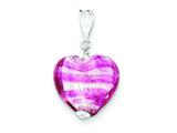 Sterling Silver Rose Heart Murano Glass Pendant - Chain Included style: MUR33