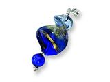 Sterling Silver Blue Spiral Murano Glass Pendant - Chain Included style: MUR37