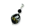 Sterling Silver Abstract Swirl Murano Glass Pendant - Chain Included style: MUR38