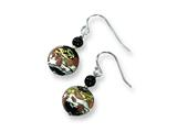 Sterling Silver Murano Glass Bead and Onyx Wire Earrings style: MUR40