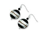 Sterling Silver Murano Glass Bead and Onyx Wire Earrings style: MUR47