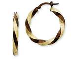 14k and Chocolate Rhodium 3.75mm Twisted Hoop Earrings style: PRE197