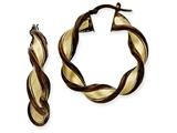 14k and Chocolate Rhodium 7mm Twisted Hoop Earrings style: PRE203