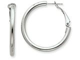 14k White Gold 3x25mm Polished Round Hoop Earrings style: PRE222W