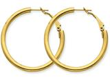 14k 3x30mm Polished Round Hoop Earrings style: PRE223