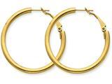 14k  3x30mm Polished Round Hoop Earrings style: PRE223