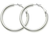 14k White Gold 3x30mm Polished Round Hoop Earrings style: PRE223W