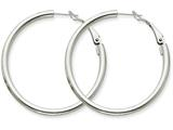 14k White Gold 3x35mm Polished Round Hoop Earrings style: PRE224W