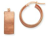 14k Plated Rose Gold 8x15mm Satin Round Hoop Earrings style: PRE234R