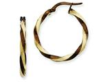 14k and Chocolate Rhodium 2.25mm Twisted Hoop Earrings style: PRE241