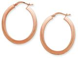 14k Plated Rose Gold 1.5mm Polished Flat Oval Hoop Earrings style: PRE377