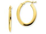 14k  1.5mm Polished Flat Oval Hoop Earrings style: PRE388